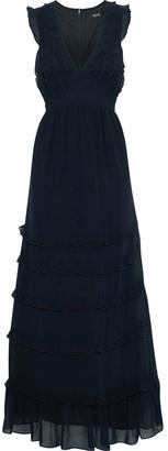 Badgley Mischka Ruffled Tiered Georgette Gown