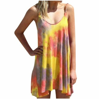Toamen Women Casual Tie-DyeIrregular Hem Simple T-Shirt Loose Summer Strappy Mini Tank Dress(Yellow 18)