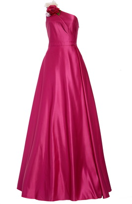 Marchesa One-Shoulder Satin Ballgown