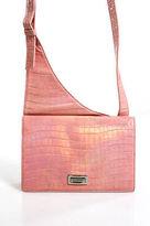 Escada Pink Leather Mock Croc Crossbody Handbag