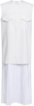 Victoria Victoria Beckham Layered Pleated Crepe De Chine And Woven Midi Dress