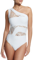 OYE Swimwear Elly One-Shoulder Lace-Panel One-Piece Swimsuit