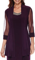 R & M Richards R&M Richards 3/4-Sleeve Sheer-Inset Bead Jacket Dress