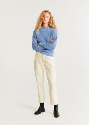 MANGO Contrasting pattern sweater ecru - XS - Women
