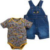 John Deere Baby Boy Construction Bodysuit & Denim Shortalls Set