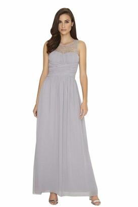 Little Mistress Grey Embellished Maxi Dress 16 UK Grey