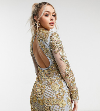 A Star Is Born exclusive embellished mini dress in vintage gold and lavender