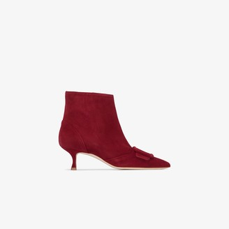Manolo Blahnik red Baylow 50 suede ankle boots
