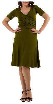 Mia Suri Womens Short Sleeve Midi Swing V-Neck Wrap Dress with Pockets