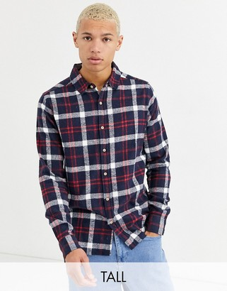 Soul Star Tall fitted check shirt-Black