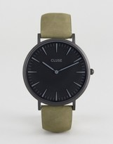 Cluse La Boheme Full Black Olive Green Leather Watch
