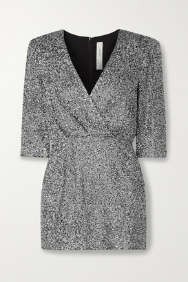 IRO Justify Wrap-effect Sequined Georgette Mini Dress - Silver