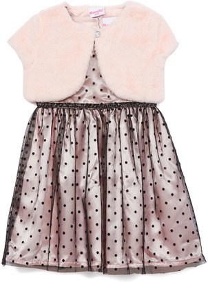 Nannette Kids Girls' Special Occasion Dresses PINK - Light Pink Dot Tulle A-Line Dress & Pink Bolero - Toddler & Girls