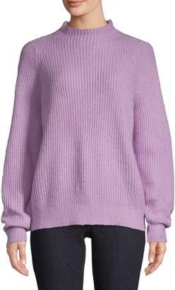 En Thread Funnel Neck Pullover Sweater