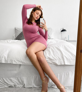 Outrageous Fortune Tall exclusive long sleeve mini dress in dusty rose