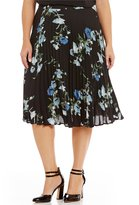 Vince Camuto Plus Windswept Bouquet Pleated Skirt