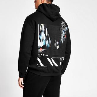 River Island Black print long sleeve hoodie