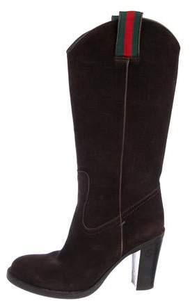 8057f2991d Gucci Brown Stacked Heel Women's Boots - ShopStyle