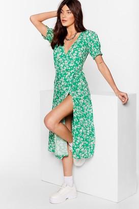 Nasty Gal Womens Pollen in Love Floral Midi Dress - Green