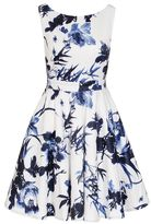 Quiz Cream And Blue Floral Print High Neck Dress