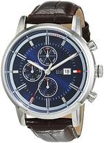 Tommy Hilfiger Mens Quartz Watch, multi dial Display and Leather Strap 1791244