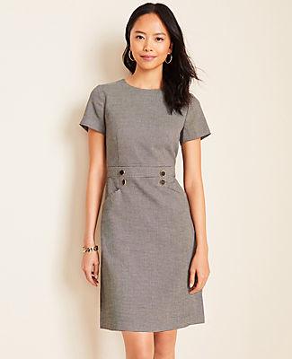 Ann Taylor Houndstooth Button A-Line Dress