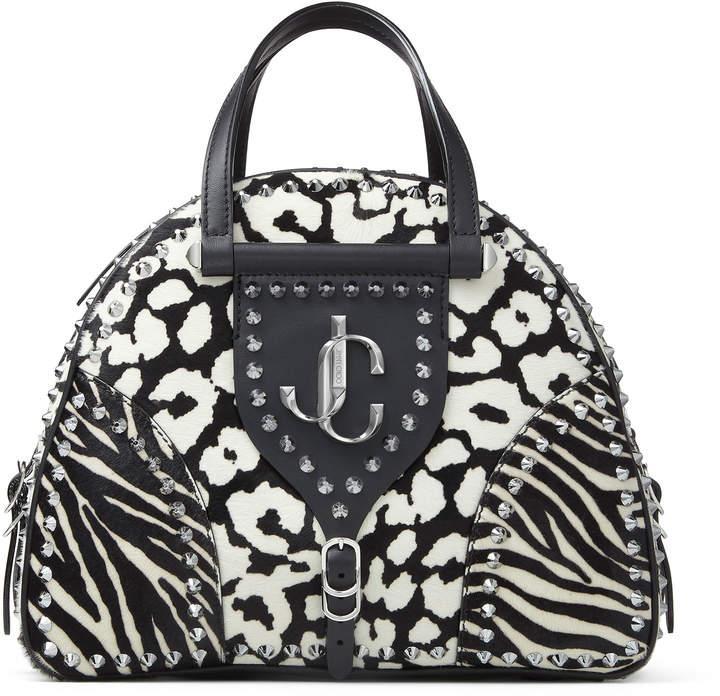 Jimmy Choo VARENNE BOWLING/M Black and White Animal Print Pony Bowling Handbag with JC Emblem and Studs