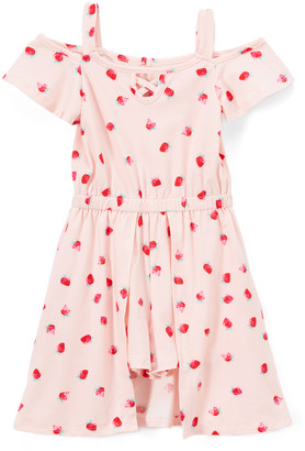 Blush B-Lush One Step Up Girls' Jumpsuits BLUSH - Blush Strawberry Shoulder-Cutout Walk-Through Midi Dress - Toddler & Girls