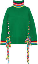 Mira Mikati Lace-up Grosgrain-trimmed Merino Wool Sweater - Bright green