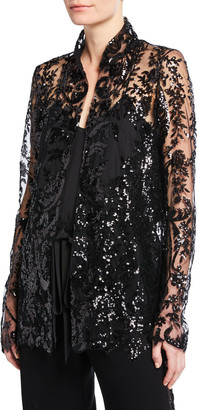 Naeem Khan Patterned Organza High-Neck Jacket