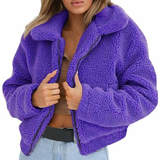 Toamen Women's Coat Toamen Womens Jacket Coat Lapel Long Sleeve Warm-up Faux Fur Zipper Fleece Parka Outerwear Overcoat Cardigan Oversized(Purple 12)