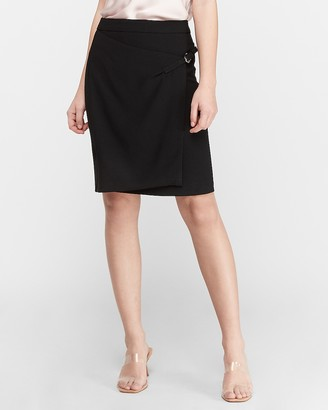 Express High Waisted Buckle Wrap Skirt