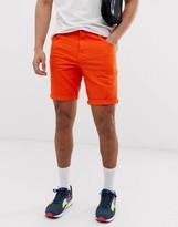 Asos Design DESIGN slim denim shorts in orange