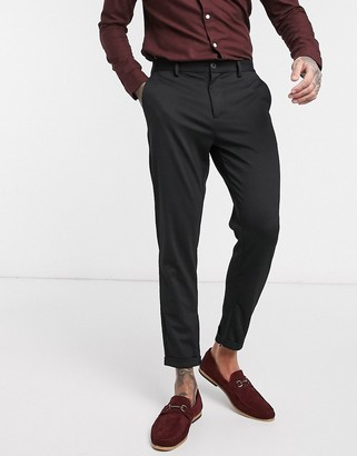 Selected slim tailored trousers with zip opening-Black