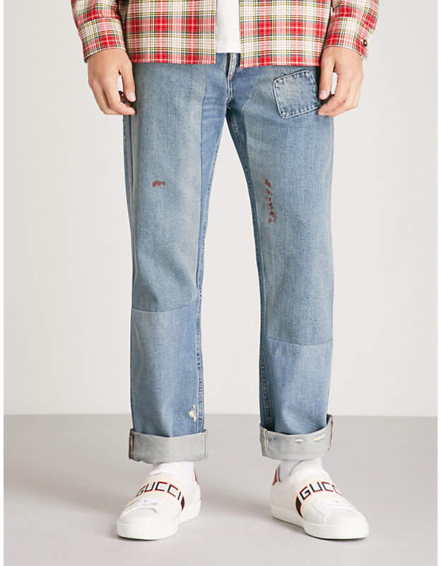 Gucci Distressed regular-fit tapered jeans