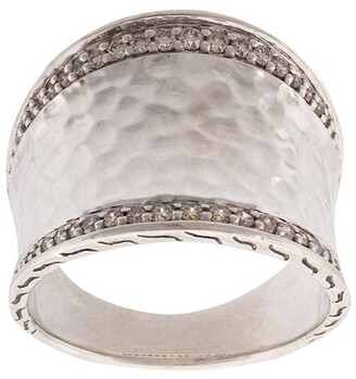 John Hardy Classic Chain hammered saddle diamond ring