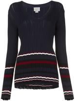 Grey Jason Wu - striped v-neck jumper - women - Viscose - M