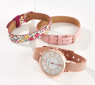 Isaac Mizrahi Live! Watch with Set of 3 Interchangeable Straps