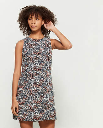 Apricot Navy Floral Print Sleeveless A-Line Dress