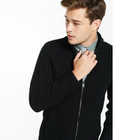 Express ribbed full zip mock neck sweater