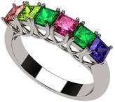 Nana Princess Cut Lucita Style 1 to 7 Simulated Birthstones - Mother's Birthstone Ring- 14k White Gold-Size 11.5