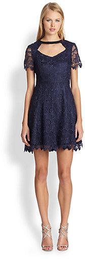 ABS by Allen Schwartz Short-Sleeve Lace Cutout Dress