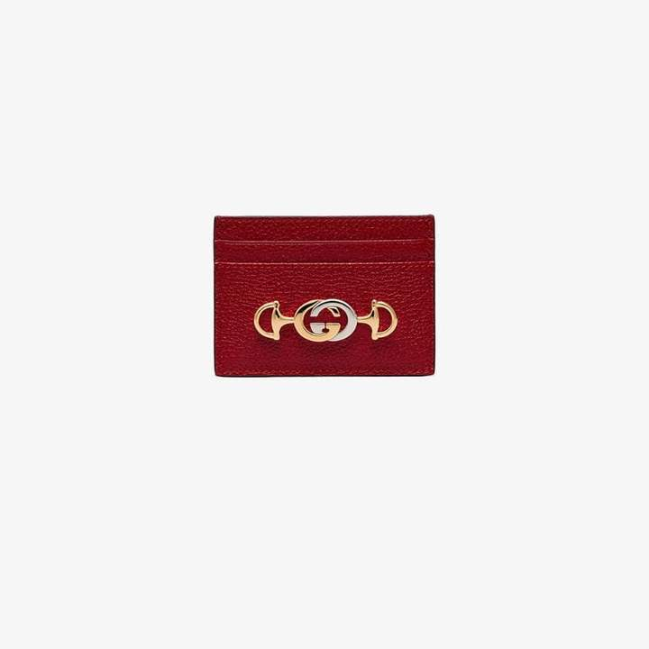 Gucci red Zumi small leather card holder