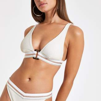 River Island Womens Cream elastic high apex triangle bikini top