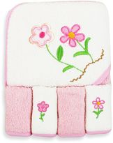 SpaSilk Baby Flowers 5-Piece Terry Hooded Towel and Washcloth Set in Pink