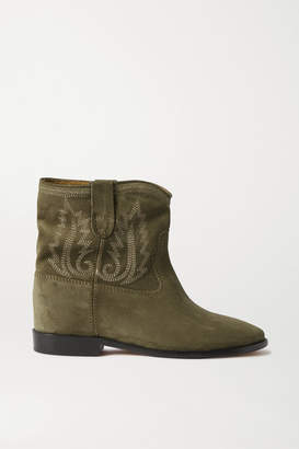 Isabel Marant Crisi Embroidered Suede Ankle Boots - Army green