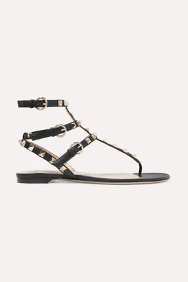 Valentino Garavani The Rockstud Leather Sandals - Black