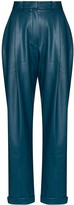Pleated Vegan Leather Trousers
