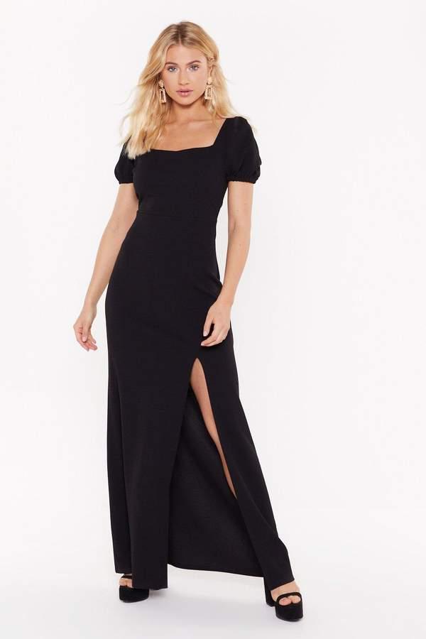 Nasty Gal Womens Split 'Em Up Square Neck Midi Dress - black - 8, Black