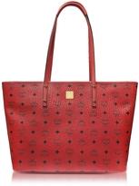 MCM Anya Ruby Red Top Zip Medium Shopping Bag
